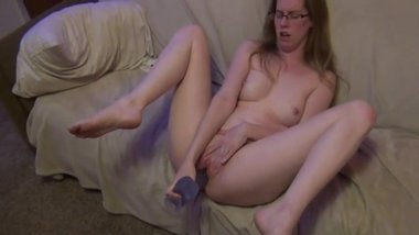 Milf is playing with her dildo and squirt