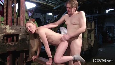 Skinny German MILF Seduce to Fuck by Stranger Outdoor