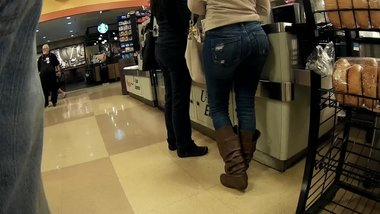Beautiful wide hips jeans and boots
