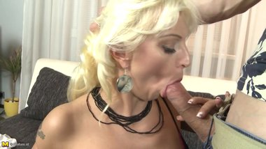 Modern mature mom rides young big cock