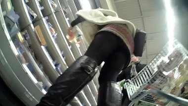 Black tights Upskirt, Lady in Supermarket