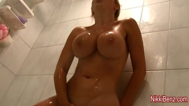 Busty babe Nikki Benz Cums Soaking Wet in Shower!