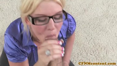 Bigtitted femdom milf doggystyling before bj