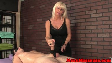 Dom milf masseuse roping balls and cock