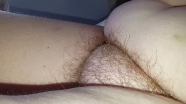 hairy pussy, soft belly, big tits on the bed