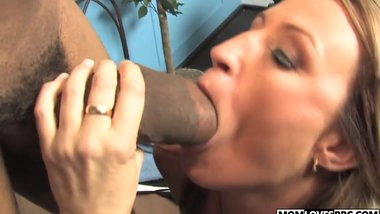 Joey Lynn takes a BBC in front of  son