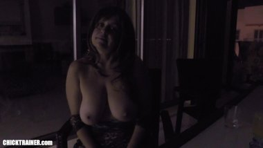 Public Blowjob Big Tits MILF playing Spin the Bottle game