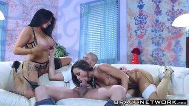 Abigail Mac and brunette Romi Rain sharing big massive cock