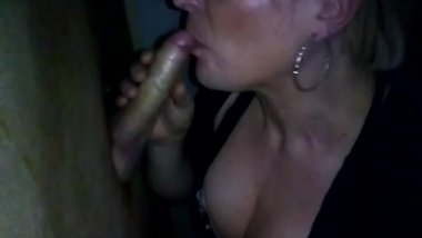 Hot Swedish MILF sucking nice dick in gloryhole