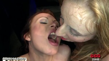 Two Dirty Sluts lick each other's pussies clean - German Goo