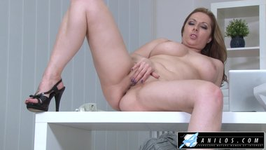 Horny Secretary Cums On Bosses Desk