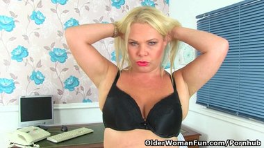 British milf Francesca is your naughty secretary today