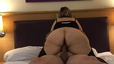 British housewife rides her lovers cock in a hotel