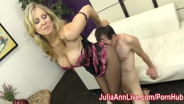 Milf Julia Ann Makes Slave Cum on Her Stockings from FootJob!