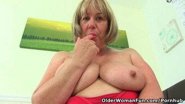 British granny Trisha and fucks her dildos