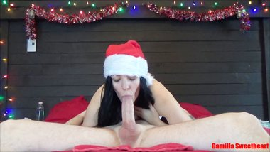 Christmas Blowjob Is The Best Gift - Young Mom Sucks And Gets Cum In Mouth