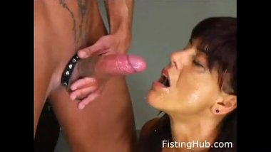 Milf deepthroats big cock, gags, chokes, takes pissing in mouth