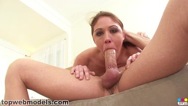 MILF Katie Angel Deepthroat Blowjob and Self Jerk Facial GREAT A++!