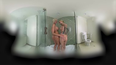 Two Hot Soaped Up Girls Playing With Each Other In Virtual Reality